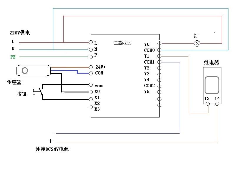 和一个接近开关24vdc三线接在三菱plc上的接法和接线图