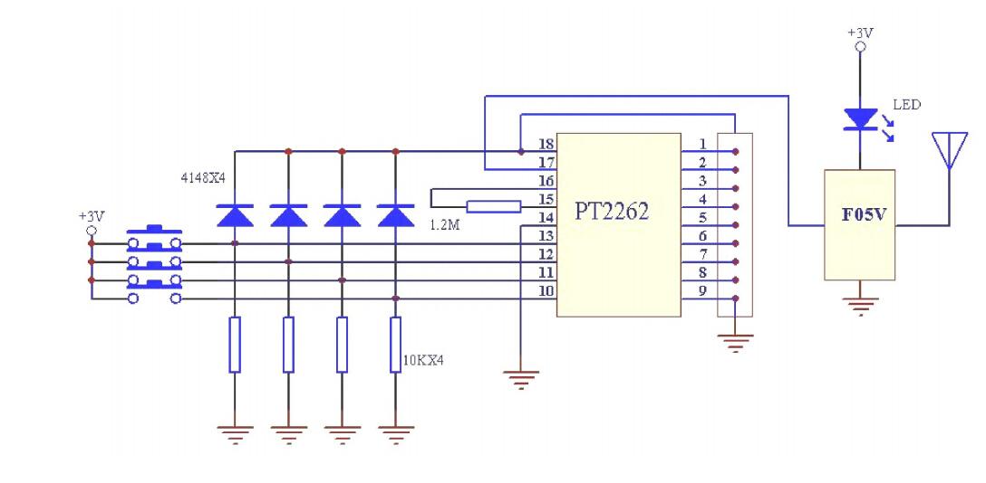 求pt2264与遥控发射模块链接电路图!用于单片机信号发射图片