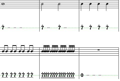 用五线谱,简谱写出下列音符及拍数 全音符,二/四/八/十六分音符,全休