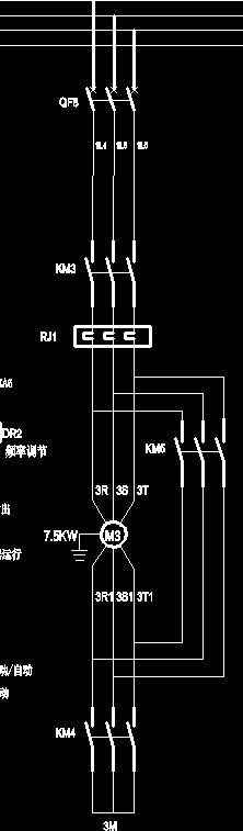 画出一台45kw三相异步电动机星三角降压启动电路图,列出所需原件清单