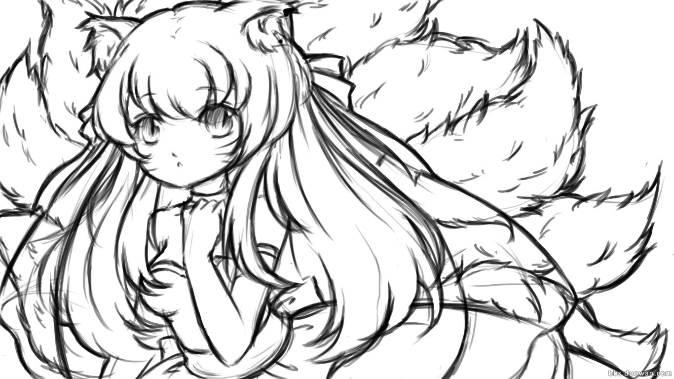 阿狸坐在花上手绘图