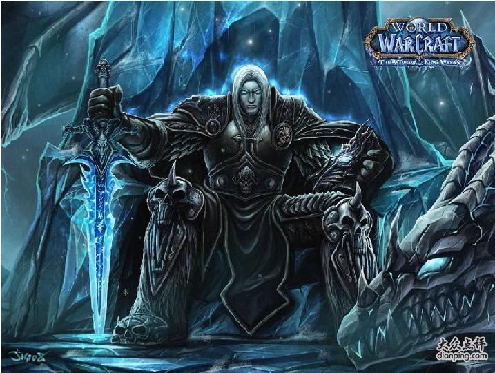 寻找一张冰封王座 女的死亡骑士的图片 白头发双色眼睛坐在宝座上拿剑