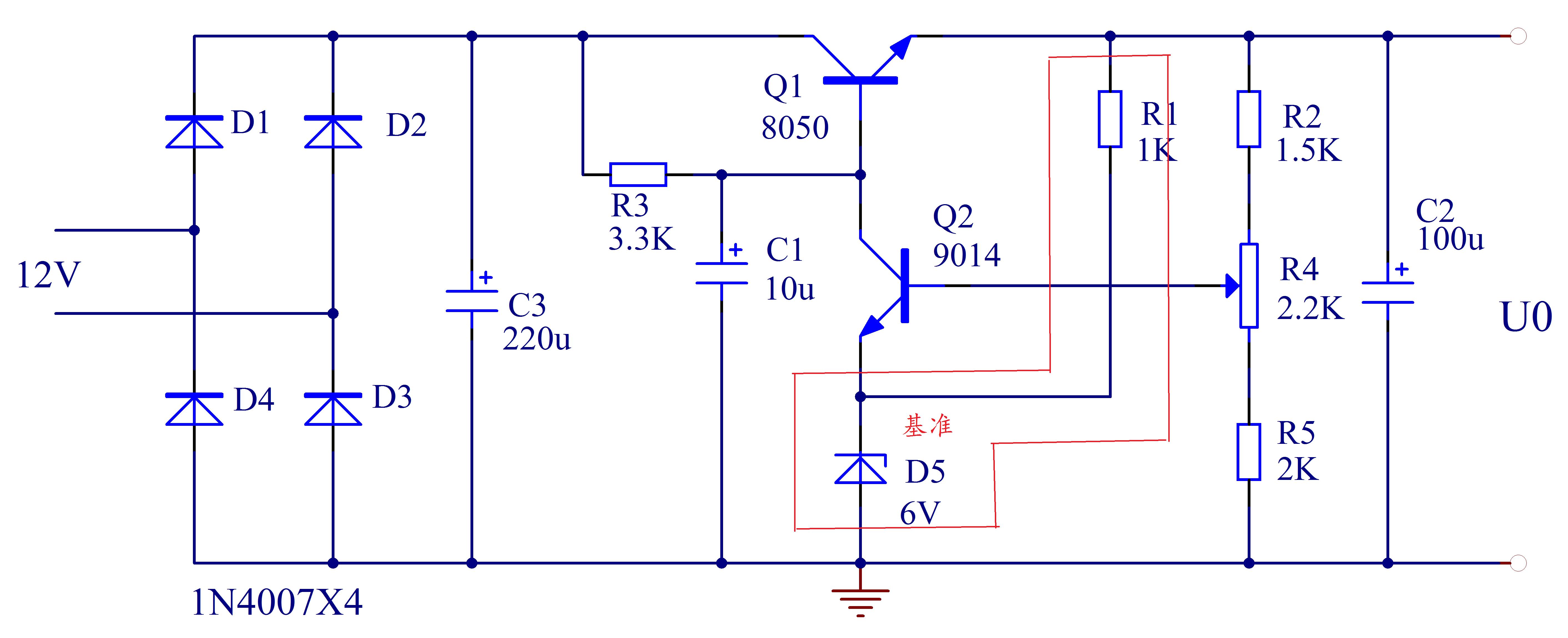 串联型稳压电源中,产生基准电压的部分是