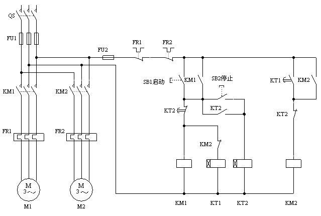 顺序控制顺序启动/逆序停止怎么做啊 且只用两个时间继电器 电路图 不