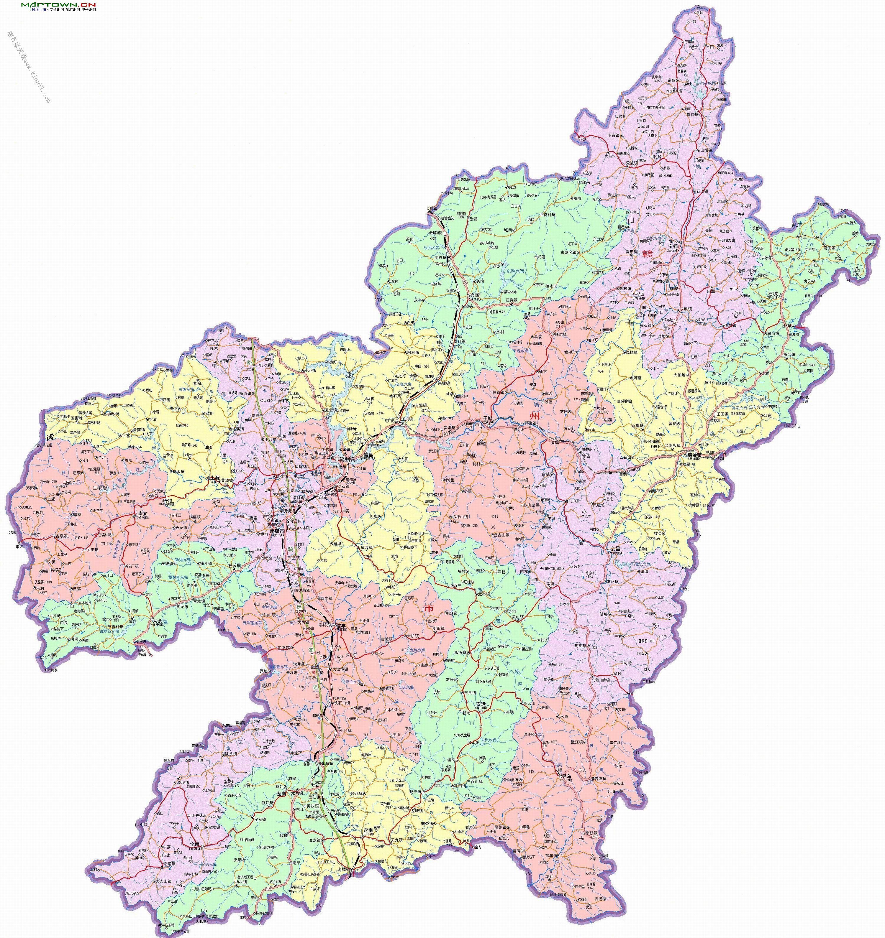 赣州市十八县市区地图