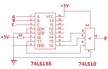用74ls138 和门电路实现逻辑函数f=abc (非a)bc a(非b