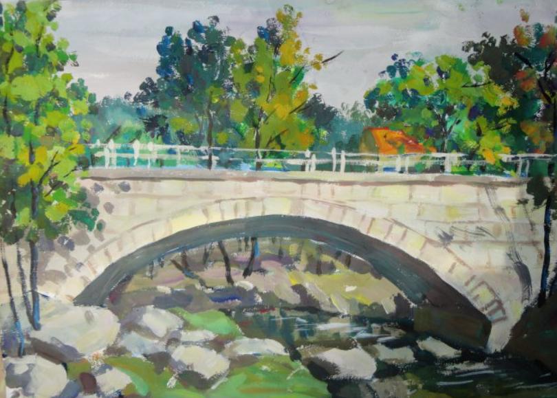 有桥的水粉风景画