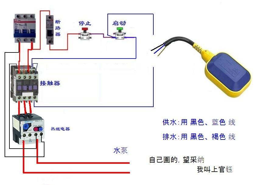 正泰nr2-25热继电器和220v交流接触器再和一个液位控制器怎么样手动