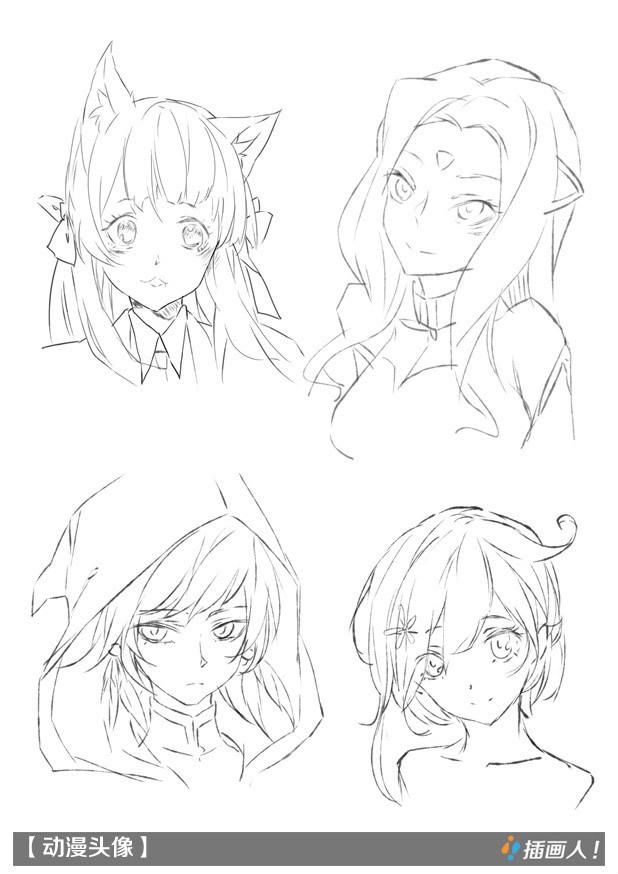 男性人物和女性人物头发画法,下面是武汉插画人的动漫头像绘画基础