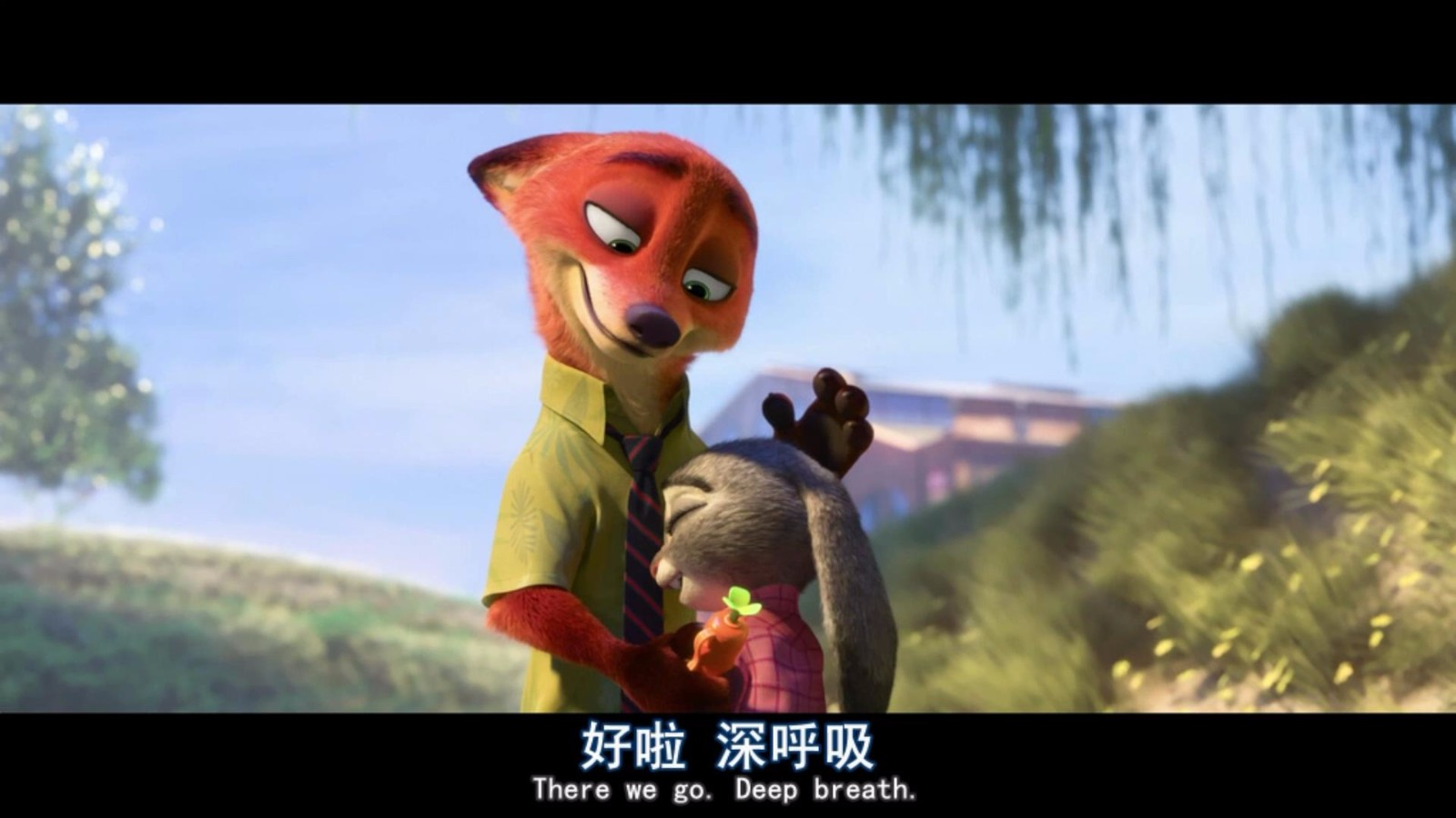 求疯狂动物城里狐狸尼克对兔子朱迪说 过来,抱抱那个图片
