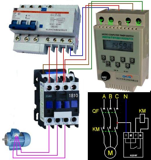 三相交流接触器与时控开关连接线图