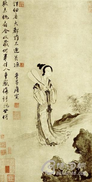 此藏品为明朝唐寅的书画作品.纵 77.1厘米 横 39.图片