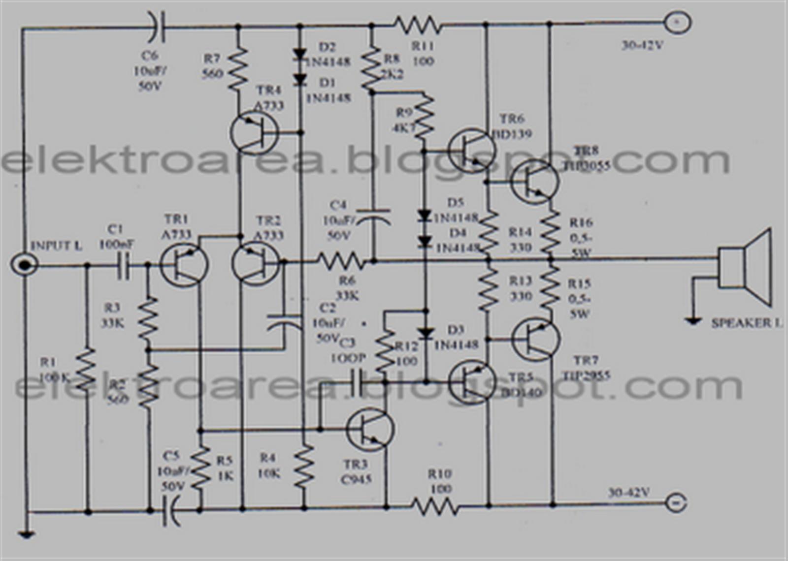 想制作简单的功放,集成电路是首选,因为集成块外围元件相对较少,也无须调试, 只要元件没事,正确连接就行了! 功率相对要大的,目前来说TDA7293算是较大的了! 在功率不小于300V,电压30V,负载8的情况下,不失真功率>90W! 下面是TDA的典型线路图!如果不嫌麻烦,还可以拉成OTL功率更大!