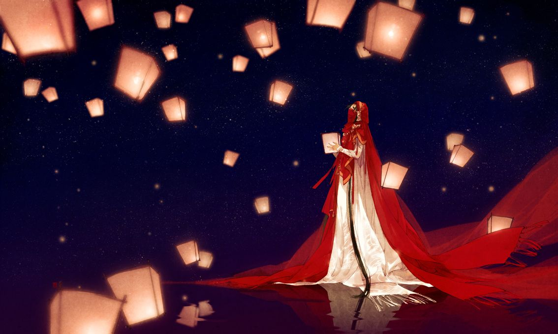 五月姑娘_谁有伊吹五月那张黑夜中一个红衣姑娘打着灯笼的那张图片的大图?