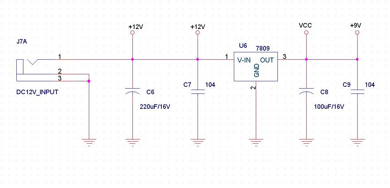 求利用lm7809将12v转9v的电路图