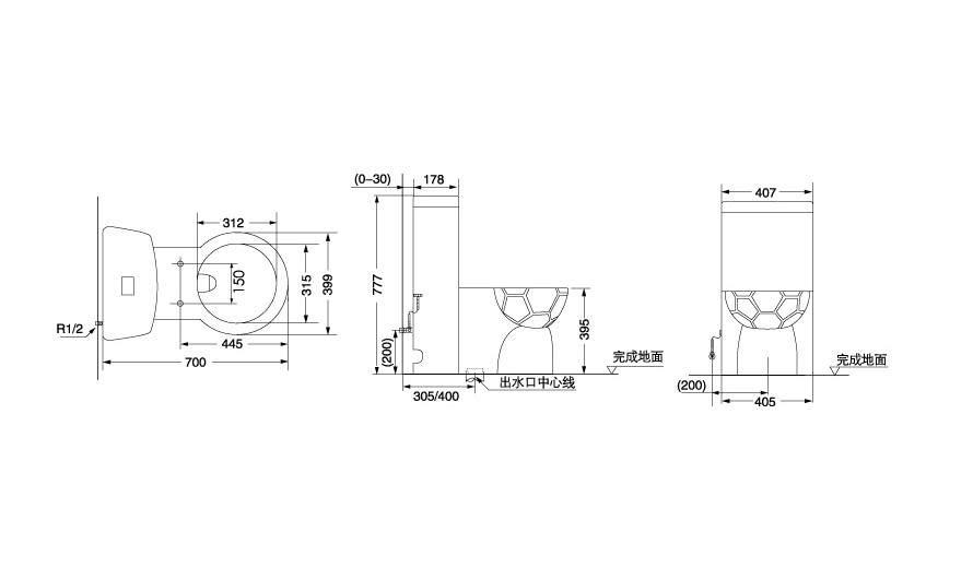 谁有马桶水箱的结构图啊,最好是三视图带尺寸的,急求
