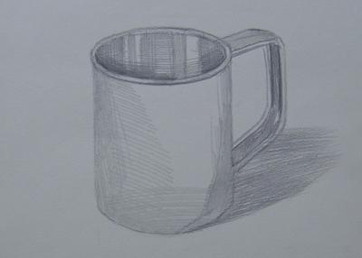 圆柱型杯子素描的步骤