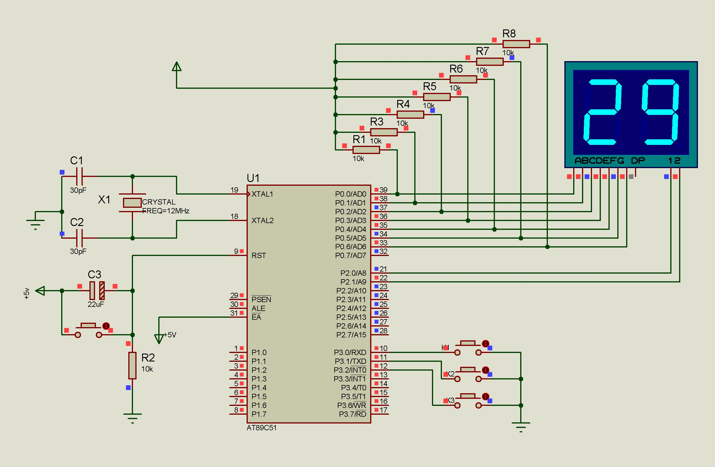 用AT89C51单片机控制8段LED数码管采用动态显示的方式显示出00000000(图1)  用AT89C51单片机控制8段LED数码管采用动态显示的方式显示出00000000(图2)  用AT89C51单片机控制8段LED数码管采用动态显示的方式显示出00000000(图3)  用AT89C51单片机控制8段LED数码管采用动态显示的方式显示出00000000(图4)  用AT89C51单片机控制8段LED数码管采用动态显示的方式显示出00000000(图5)  用AT89C51单片机控制8段LED数