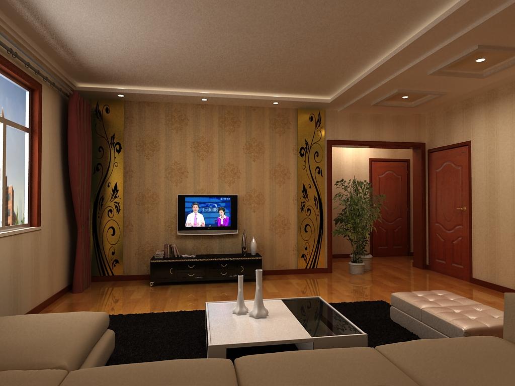 实际你这个电视墙左右按你的木工板竖条造型可以贴一面大的喷画镜子