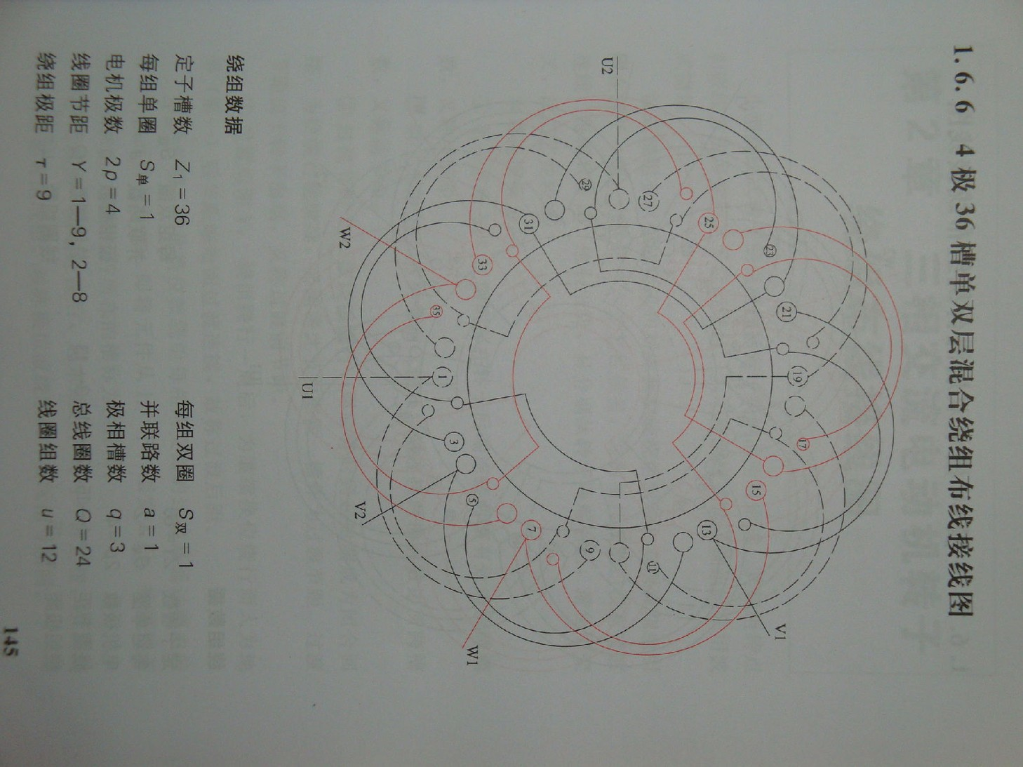 三相4极36槽同心式12组圈接线图