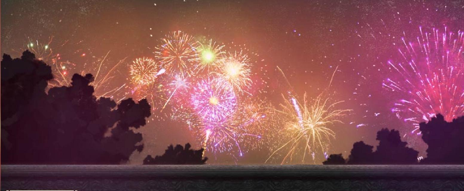 夜晚的�:-�_【橙光游戏】求古风的夜晚有烟花的图