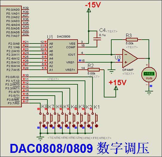 1)dac0808/0809的输出是电流,所以还需一个运放(358,324,4558均可)将