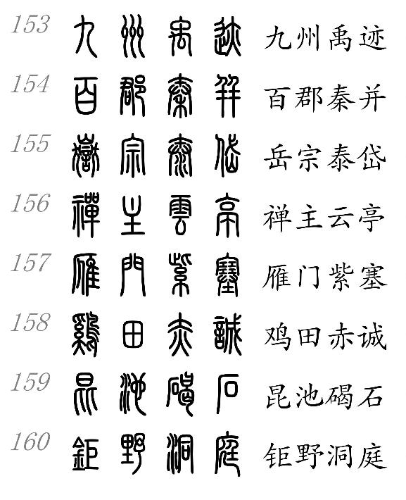 小篆和中文对照表图片