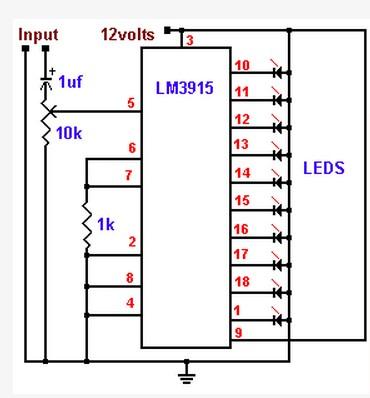 求10点的led电平灯电路,用在功放前级,要电路图!谢谢!