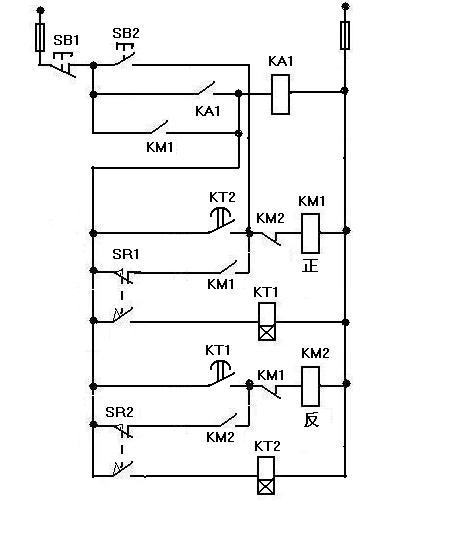 两个行程开关,两个接触器,两个常开点触开关,怎么接线