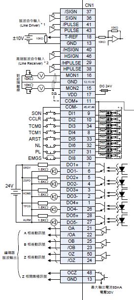 台达asd-a2伺服pt模式控制电路接线