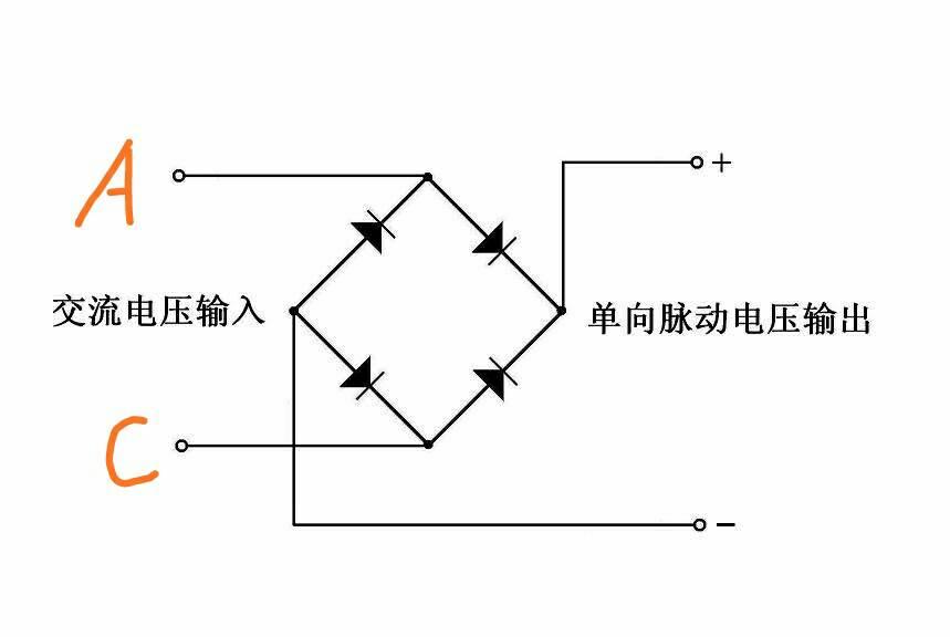 asemi整流桥与通常四个二极管整流桥,电路图是一样的,只不过前者将四