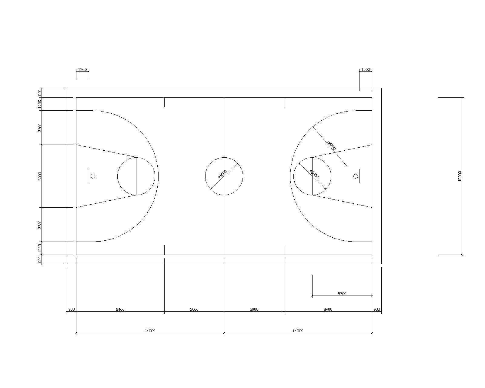 求篮球场标准图纸 ,清晰一点