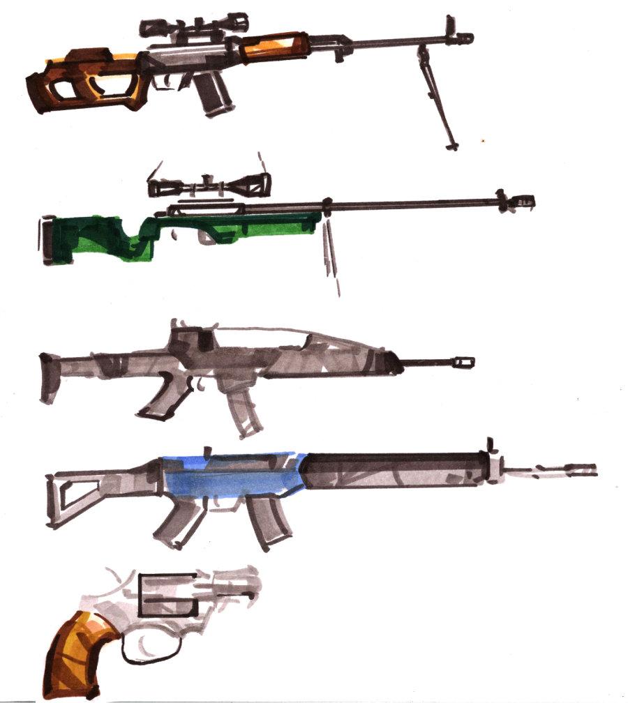 武器马克笔手绘