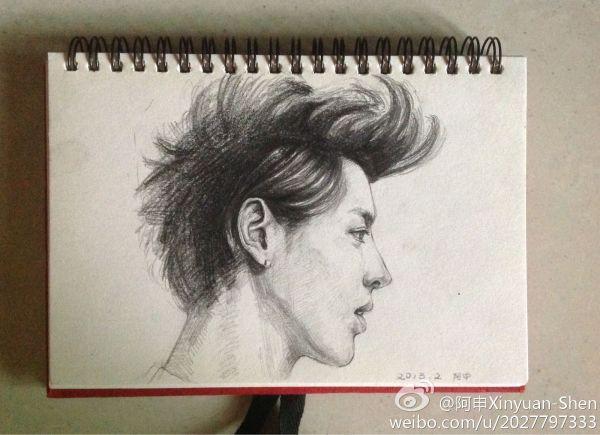 跪求exo素描画,吴亦凡和棉麻的要多一点.