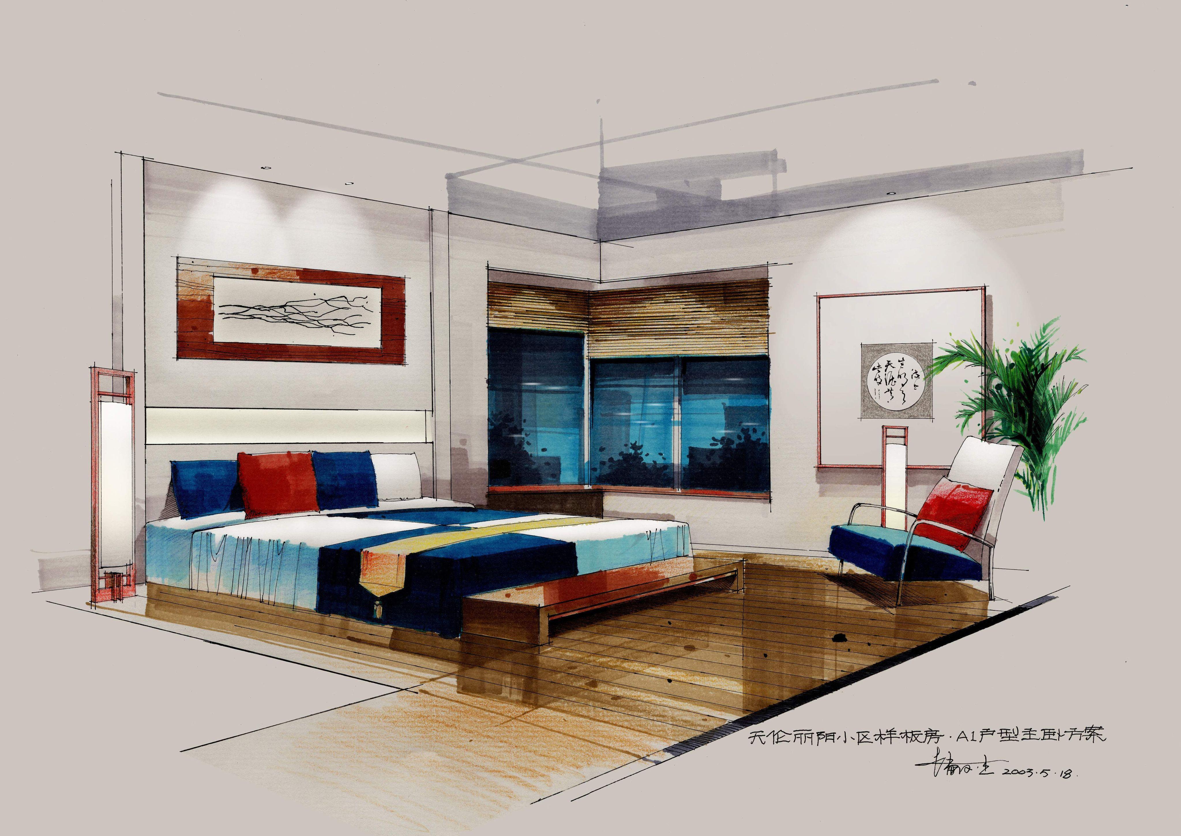 寻一张二点透视室内手绘效果图啊,简单点的,网上资源有效呃