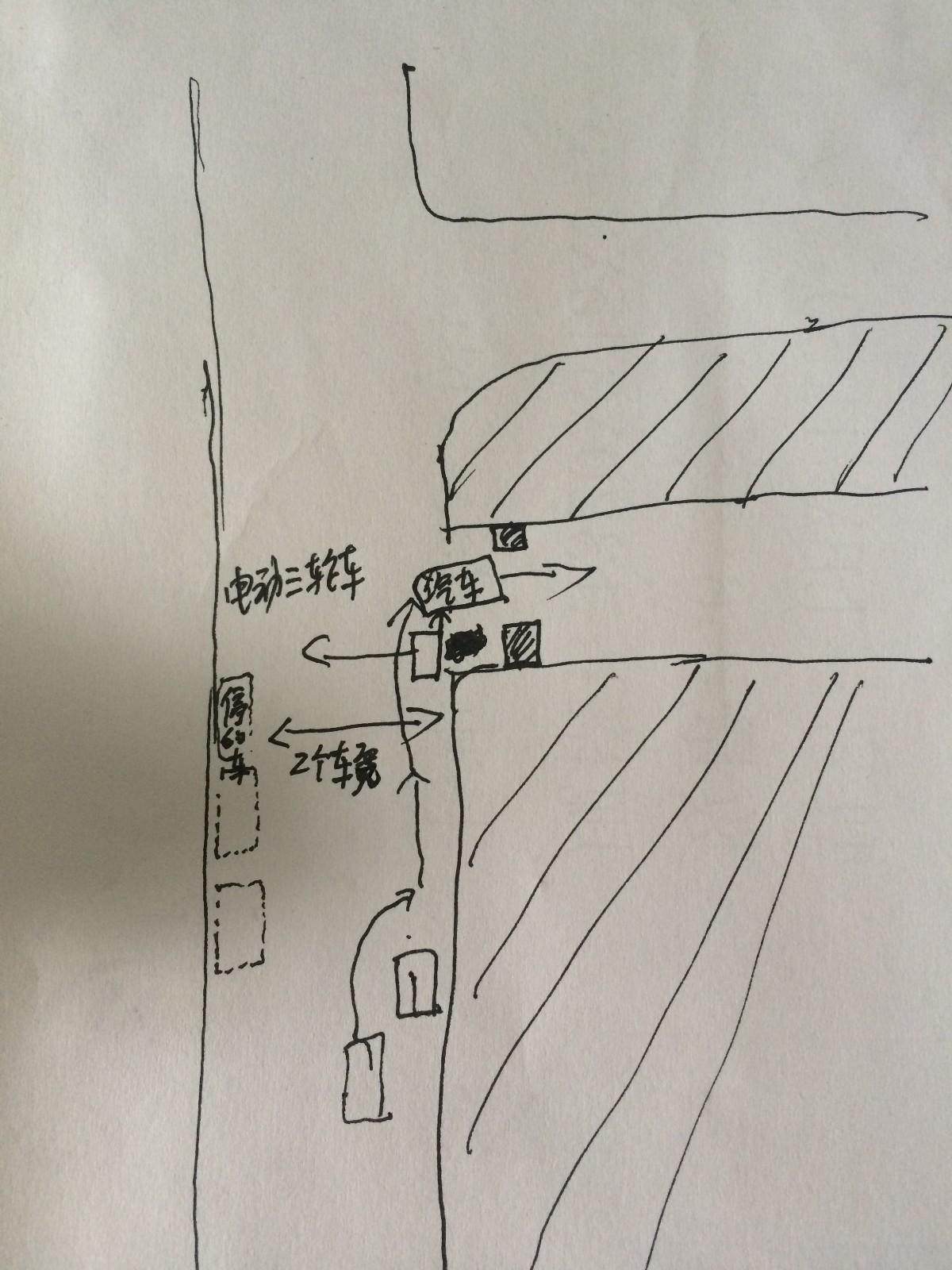 小路上右转被后面直行车撞谁的责任,如图所示后面电动