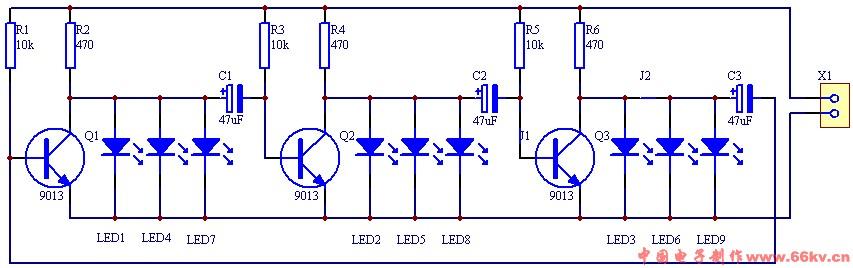9个led流水灯电路图怎么做这些突出来的导线怎么回事