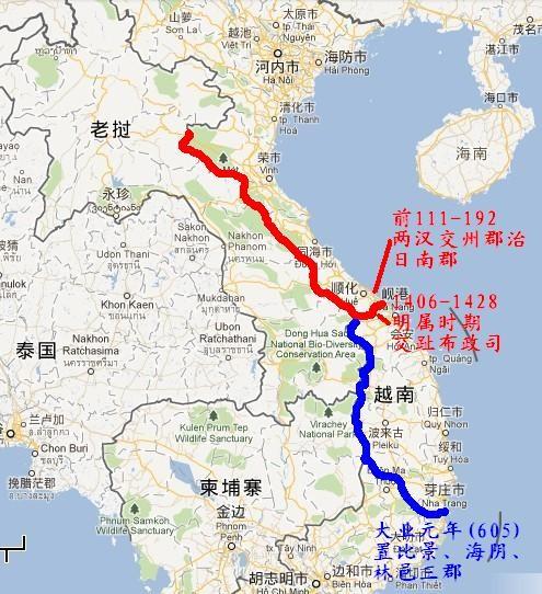 最南端位置:北纬17度,越南顺化;北纬12度(极短时间)