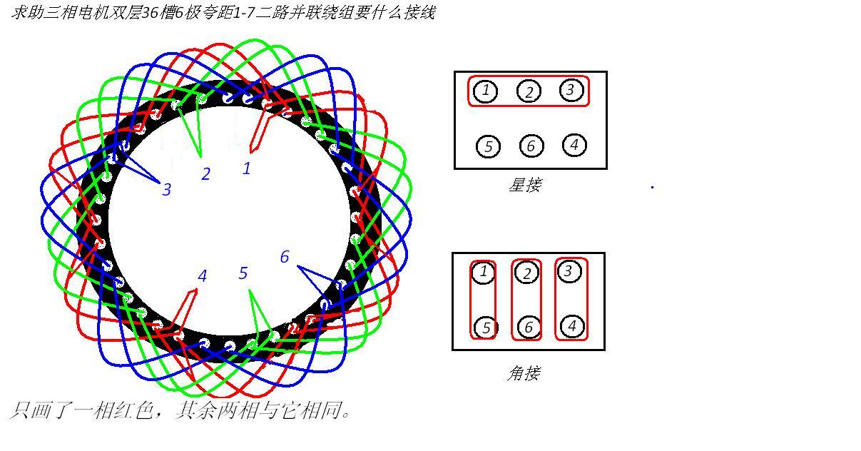 求助三相电机双层36槽6极夸距1-7二路并联绕组要什么接线,请高手详细