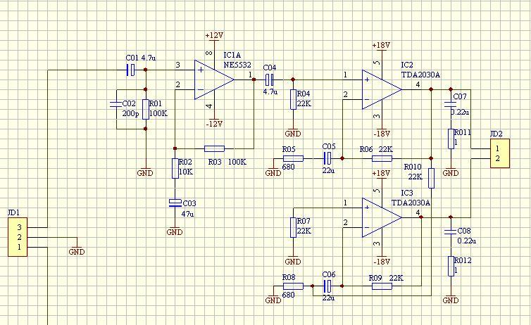 求一个最简单的低音炮的电路图2*30w的