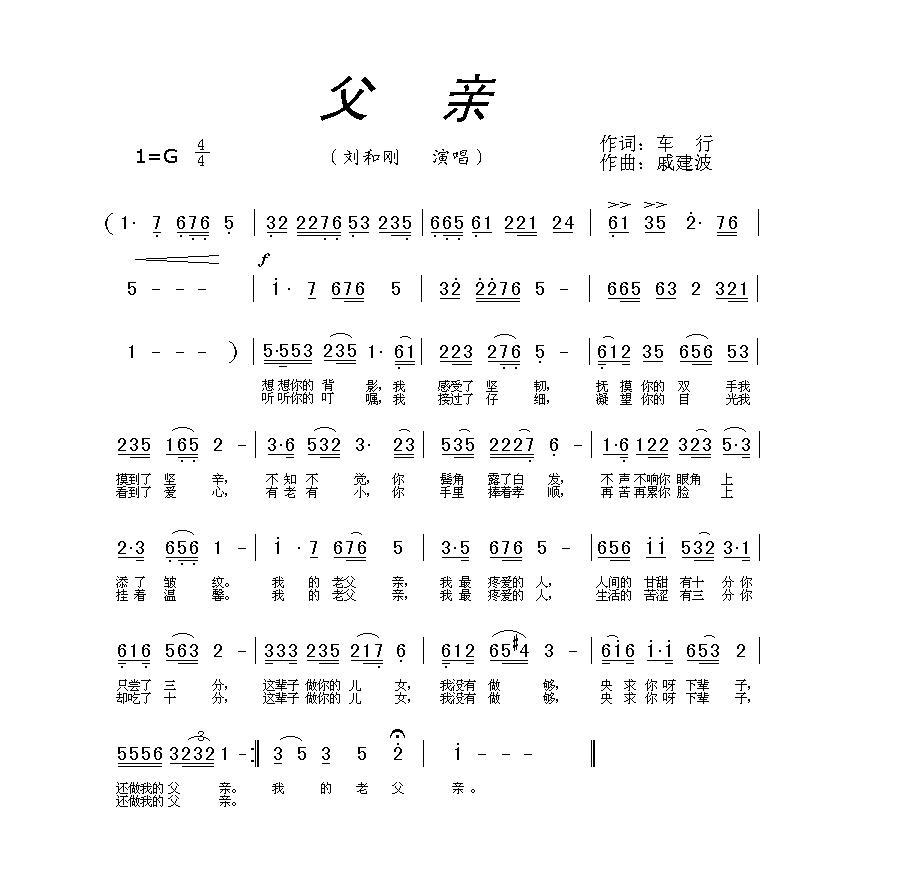 父亲刘和刚简谱g调或f调乐谱