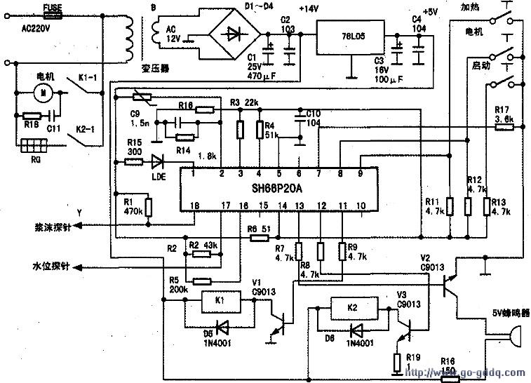 九阳豆浆机原理图.