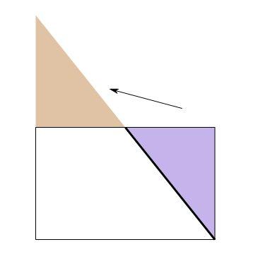 把下面的长方形剪成两部分,使这两部分可以拼成三角形图片