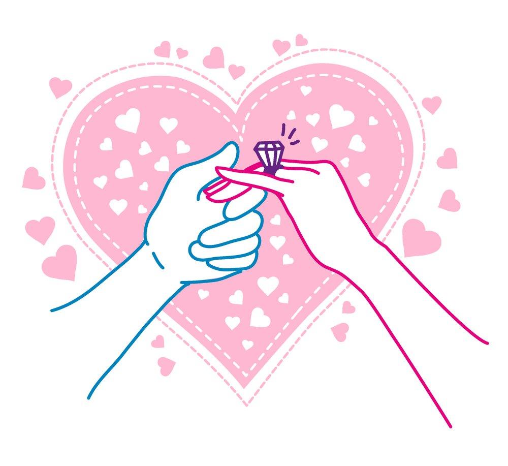 求向前递戒指盒和向前递玫瑰的图片~手绘也可以