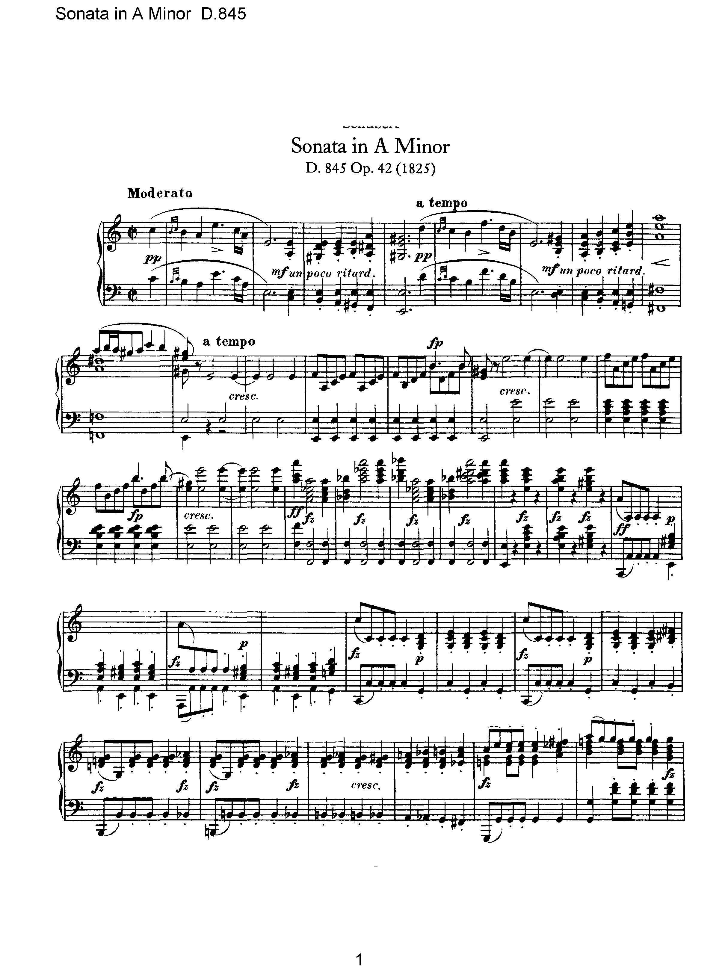 跪求舒伯特第16号钢琴奏鸣曲 a小调的钢琴谱