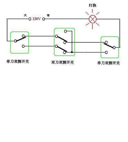 三地控制一灯的电路原理图