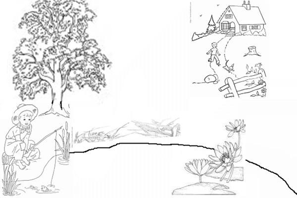 简笔画 叫愉快的一天 需要包含一个建筑 两个人物 两个植物 两个动物