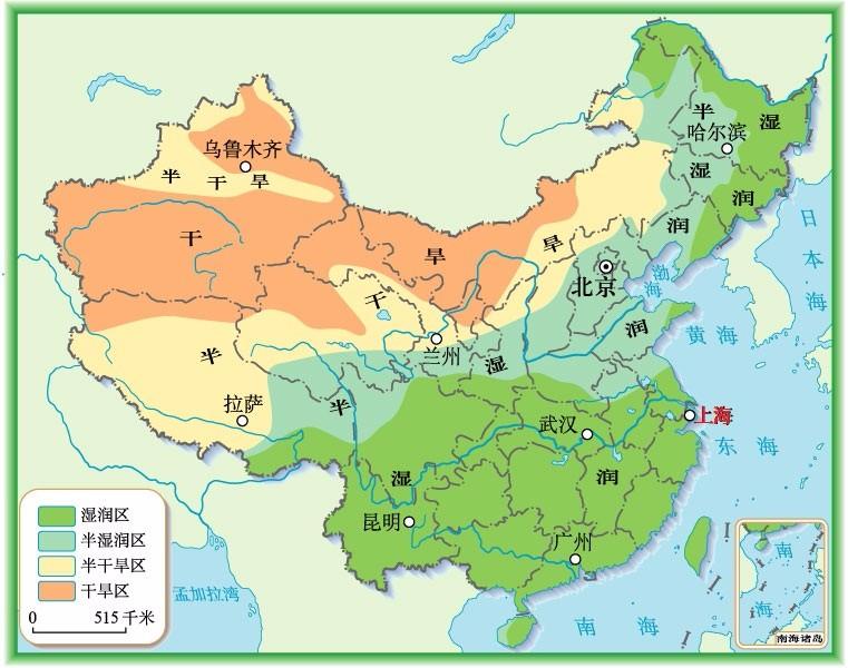 按中国小学带和温度区的划分上海市应区分干湿按初中高明属于图片