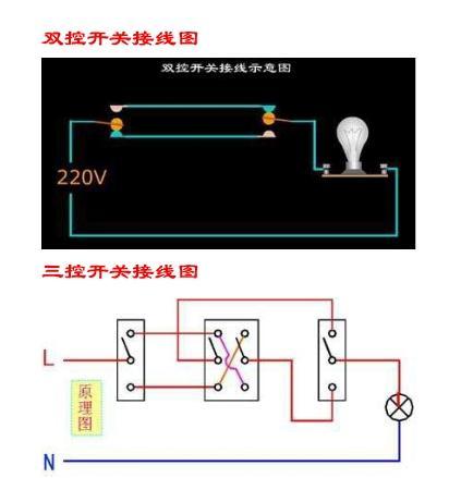 怎样用两个开关控制一个灯电路图
