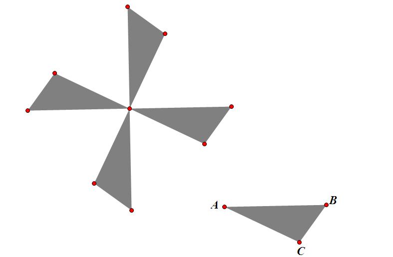 五年级数学下面的图案分别是由哪个图形旋转而成的图片